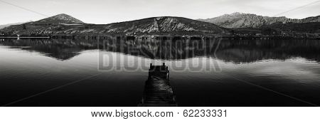 Panorama of Old Jetty and Lake Hayes, New Zealand