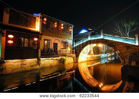 Traditional Houses and a Bridge Over a Canal, Suzhou, China