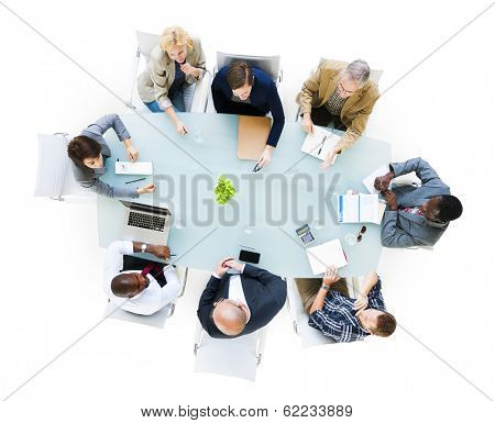 Group Of  Business People Around The Conference Table Having A Meeting