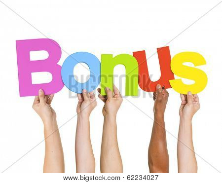 Multi Ethnic People Holding The Word Bonus