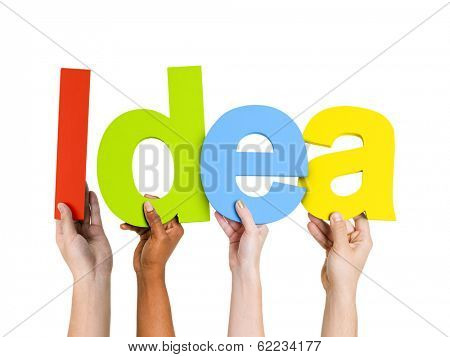 Multi-Ethnic Group Of People Holding The Word Idea