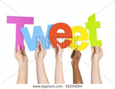 Multi-Ethnic Group Of People Holding The Word Tweet