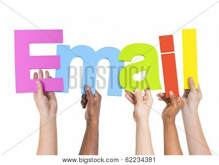 Multi-Ethnic Group of Diverse People Holding Letters To Form The Word E-Mail