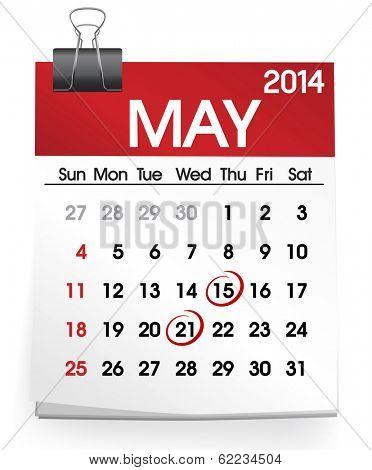 Vector of Calendar: May 2014