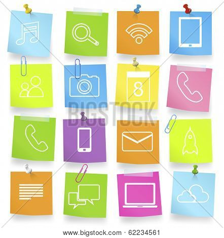 Social Networking Icons on Adhesive Notes