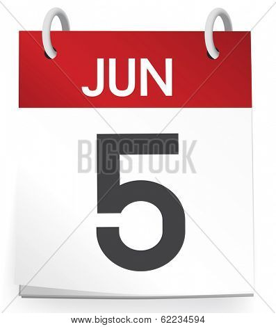Vector of 5th of June Calendar