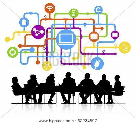 Vector of Business Meeting and Computer Network
