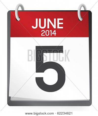Vector of 5th of June 2014 Calendar