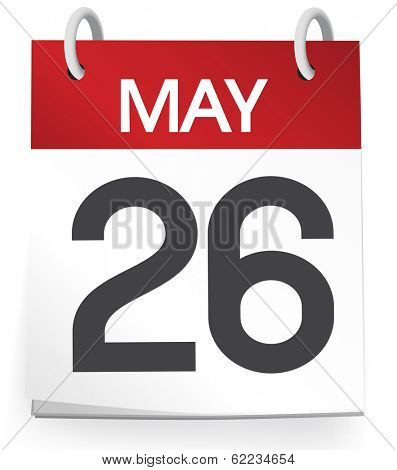 Vector of 26th of May Calendar