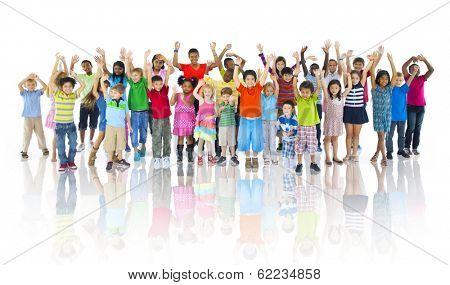 Large Group of Children Celebrating