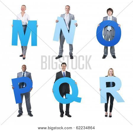 Business People Holding Alphabet M-R
