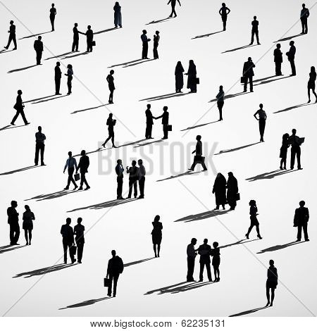 Silhouette of Crowd of Business People