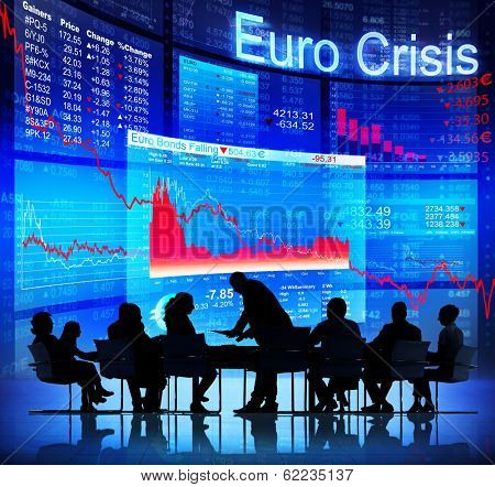 Silhouette of Business Meeting With Euro Crisis