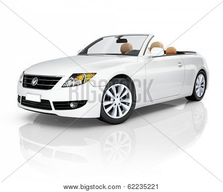 3D White Convertible Car
