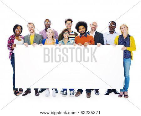 Group Of Multi-Ethnic People Holding Blank Billboard