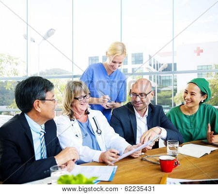 Group of Diverse Doctors In Meeting at Hospital