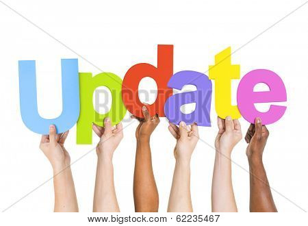 Diverse Hands Holding The Word Update