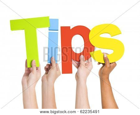 Diverse Hands Holding The Word Tips