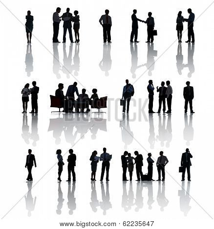 Silhouette of Multi-Ethnic Group Of Business People In Different Situations