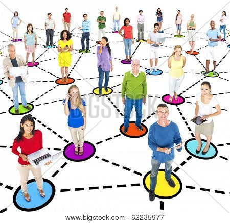 Group Of Multi-Ethnic People Social Networking And Connecting