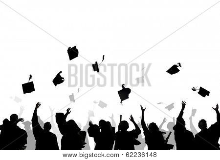Diverse International Students Celebrating Graduation And Throwing Caps