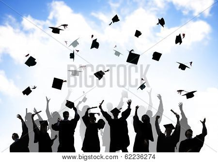 Group Of Graduating Students Throwing Caps in The Air