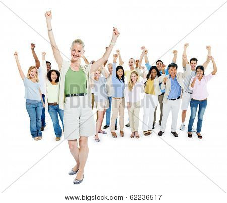 Mature Woman and Group of Diverse Multi Ethnic Cheerful People Celebrating