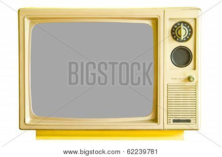 Vintage Analog Television Isolated On white Background,