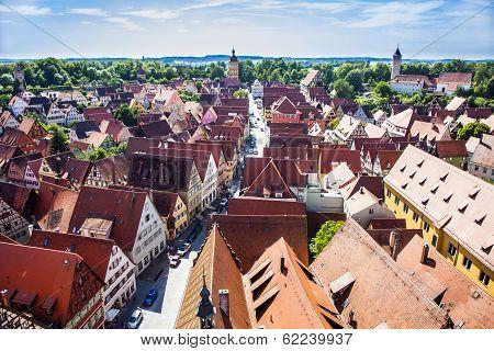 View To Old Medieval City Of Dinkelsbuehl, Germany