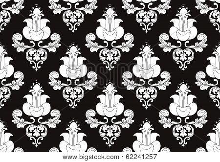 White Flowers On Black  Background 2