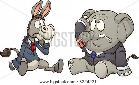 Elephant and donkey in business, Vector clip art illustration with simple gradients.  Each on a separate layer.