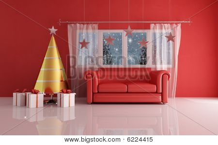 Waiting For Christmas Day In Red Room