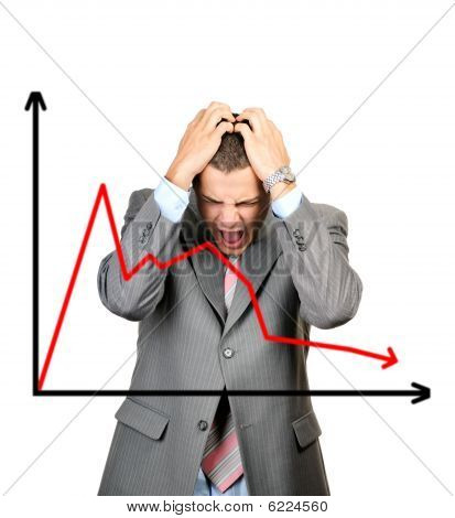 Crisis diagram character focus on man isolated on white