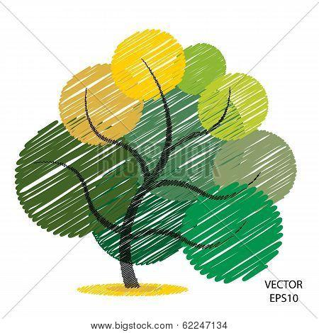 Color scribble tree symbol