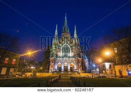 KRAKOW, POLAND - MAR 26, 2014: Church Joseph on night time - a historic Roman Catholic church in south-central part of Krakow. Was built 1905-1909 y and designed by Jana Sas-Zubrzyckiego.
