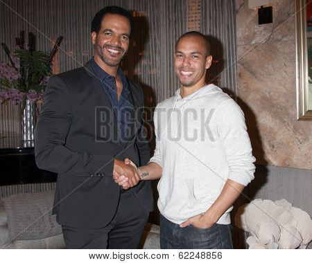 LOS ANGELES - MAR 25:  Kristoff St John, Bryton James at the Young and Restless 41st Anniversary Cake at CBS Television City on March 25, 2014 in Los Angeles, CA