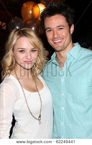 LOS ANGELES - MAR 25:  Hunter King, Matthew Atkinson at the Young and Restless 41st Anniversary Cake at CBS Television City on March 25, 2014 in Los Angeles, CA