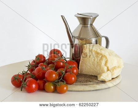 tomatoes, oil and parmigiano