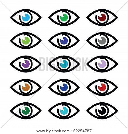 Eye-Eye colors sight icons set - vector icons set