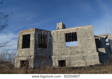 Lost city. Near Chernobyl area. Kiev region, Ukraine. Abandoned cottage construction site