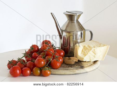oil, tomatoes, almonds and parmigiano