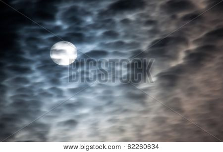 Full moon and beautiful clouds