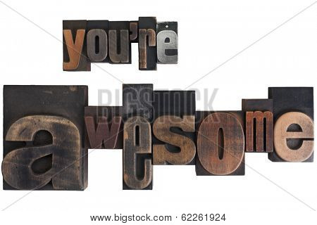 phrase you're awesome in vintage wooden letterpress type, scratched and stained, isolated on white background
