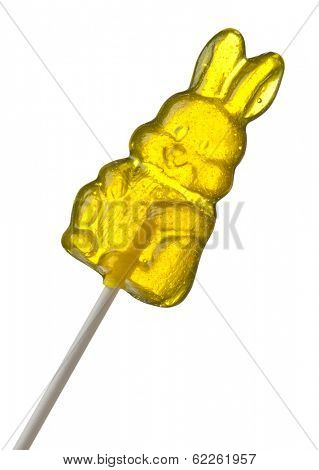 Yellow Easter Bunny Hard Candy Lollipop isolated with clipping path