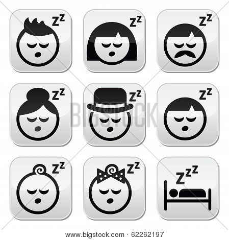 Sleeping, dreaming people faces buttons set