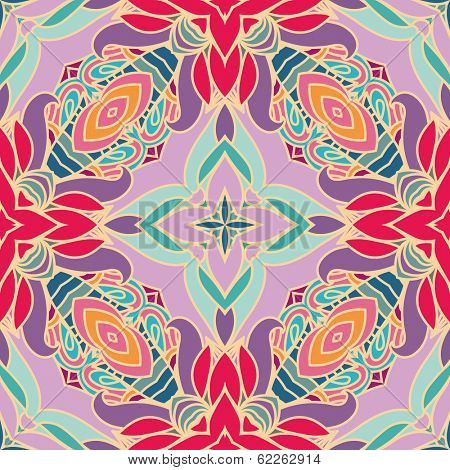 Bright abstract vintage wallpaper in vector. Mandala style. Seamless pattern can be used for wallpapers, pattern fills, web page backgrounds, surface textures. Gorgeous seamless vintage background
