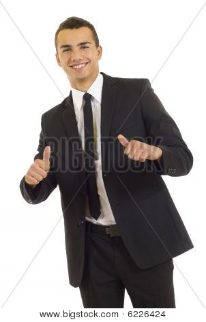 Young Businessmen Making His Thumbs Up