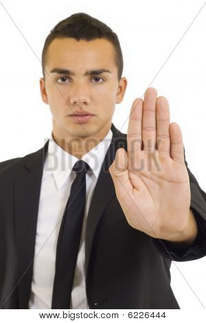 Businessman Gesturing Stop