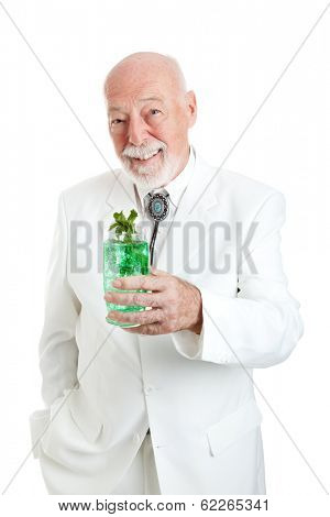 Traditional Kentucky Colonel enjoying a mint julep coctail for Derby Day.  Kentucky Colonel is an honorary designation, not only associated wiith a particular brand.