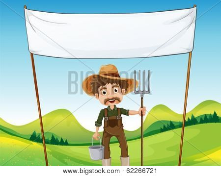 Illustration of a farmer below the empty signage